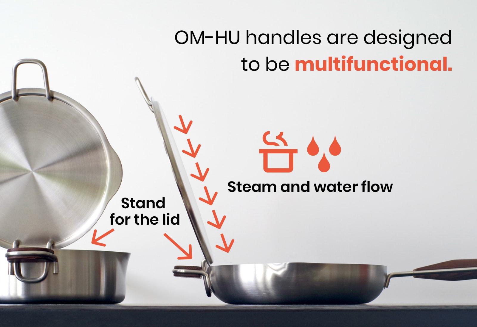 Mozow OM-HU handles serve as a lid holder.